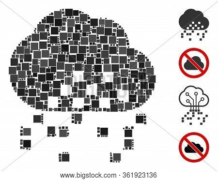 Mosaic Cloud Dissipation Icon Organized From Square Items In Different Sizes And Color Hues. Vector
