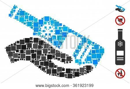 Mosaic Free Vodka Bottle Icon Constructed From Square Items In Random Sizes And Color Hues. Vector S