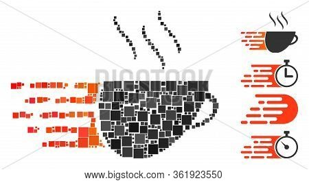 Collage Express Coffee Icon Designed From Square Items In Variable Sizes And Color Hues. Vector Squa