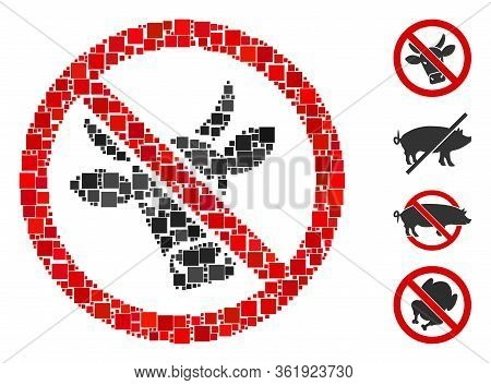 Mosaic No Beef Icon Organized From Square Items In Different Sizes And Color Hues. Vector Square Par