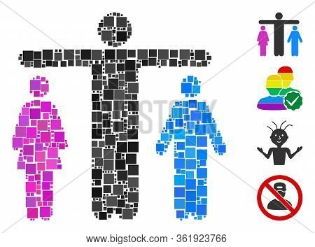 Mosaic Bisexual Person Icon Constructed From Square Elements In Random Sizes And Color Hues. Vector