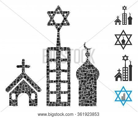 Mosaic Zion City Icon Organized From Square Elements In Various Sizes And Color Hues. Vector Square