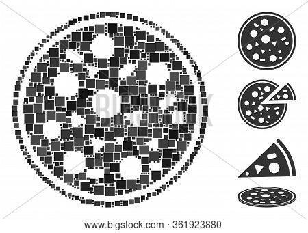 Collage Entire Pizza Icon United From Square Items In Variable Sizes And Color Hues. Vector Square I