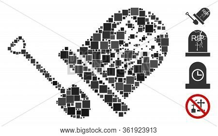 Mosaic Grave Exhumation Icon United From Square Elements In Various Sizes And Color Hues. Vector Squ