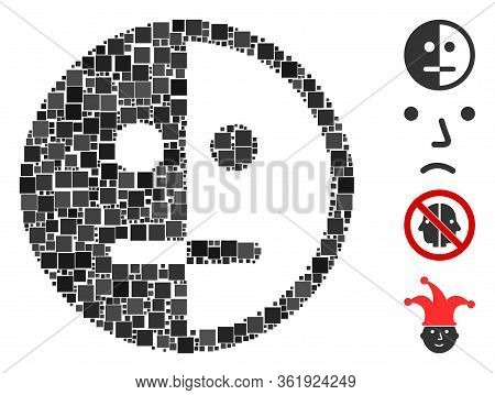 Mosaic Bipolarity Face Icon Organized From Square Items In Various Sizes And Color Hues. Vector Squa