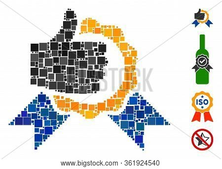 Mosaic Excellent Icon Designed From Square Items In Different Sizes And Color Hues. Vector Square It