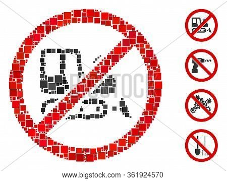 Mosaic No Bulldozer Icon Composed Of Square Items In Different Sizes And Color Hues. Vector Square P