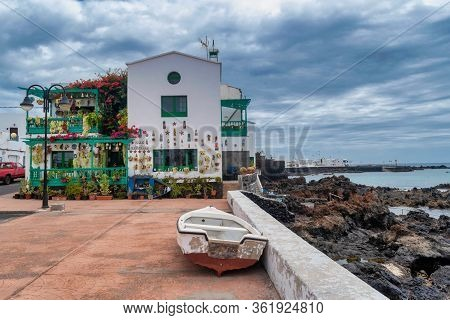 Punta Mujeres, Lanzarote, Canary Islands , Spain - April 18, 2020: Typical White Houses Of Village P