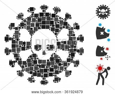 Mosaic Deadly Virus Icon Organized From Square Elements In Different Sizes And Color Hues. Vector Sq