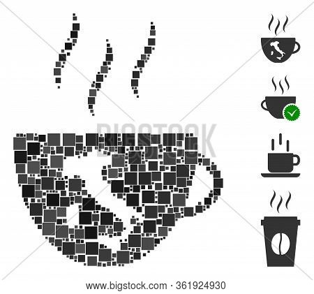 Mosaic Italian Coffee Cup Icon United From Square Items In Random Sizes And Color Hues. Vector Squar