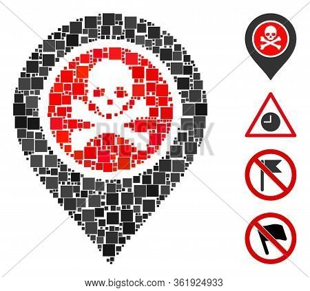 Mosaic Dangerous Zone Pointer Icon Organized From Square Elements In Random Sizes And Color Hues. Ve