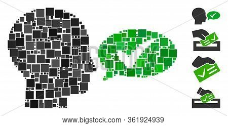 Mosaic Say Yes Icon United From Square Items In Various Sizes And Color Hues. Vector Square Items Ar