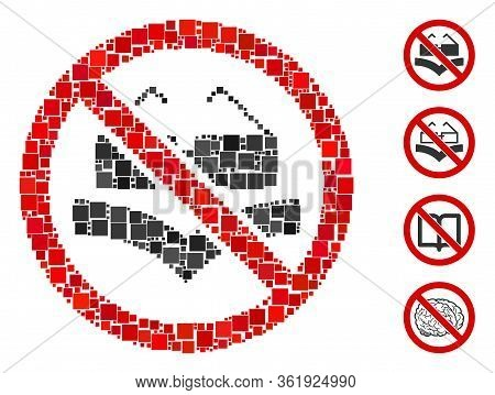 Mosaic Not Read Books Icon United From Square Items In Various Sizes And Color Hues. Vector Square P