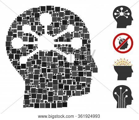 Mosaic Human Intellect Icon Constructed From Square Items In Different Sizes And Color Hues. Vector