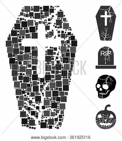 Mosaic Old Coffin Icon United From Square Elements In Various Sizes And Color Hues. Vector Square El