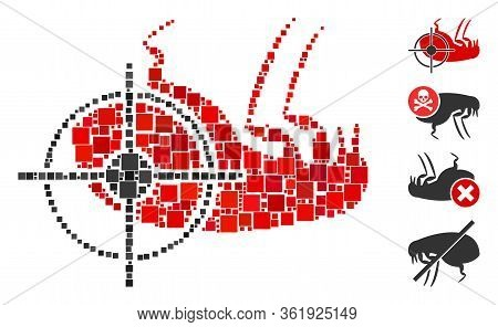 Collage Dead Flea Icon Constructed From Square Items In Different Sizes And Color Hues. Vector Squar
