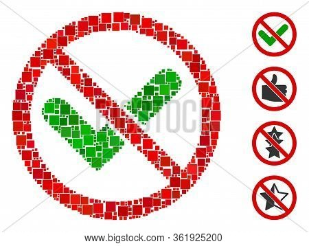 Collage No Confirmation Icon United From Square Elements In Random Sizes And Color Hues. Vector Squa