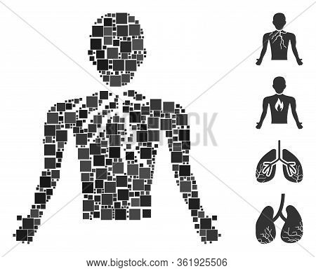 Mosaic Chest Cancer Icon United From Square Items In Various Sizes And Color Hues. Vector Square Ite