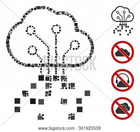 Collage Digital Cloud Icon Organized From Square Elements In Various Sizes And Color Hues. Vector Sq