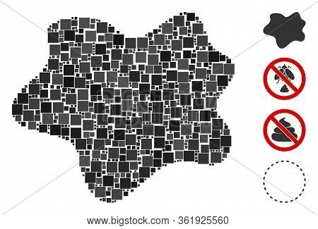 Mosaic Dirt Spot Icon United From Square Items In Variable Sizes And Color Hues. Vector Square Items