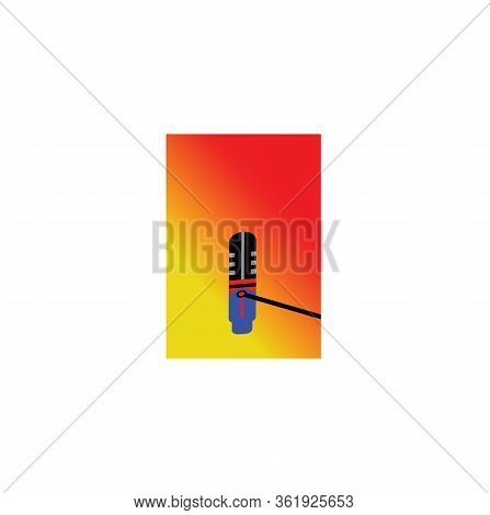 Isolated Microphone Icon With A Red Gradation Background In Yellow. Microphone Icons In A Trendy Des