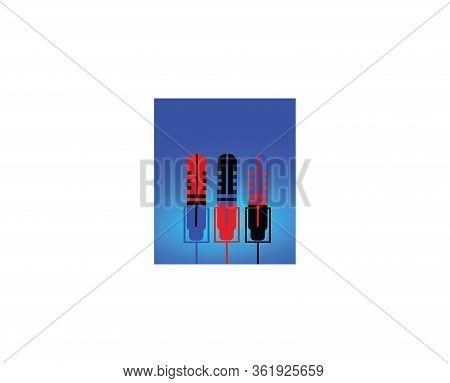 Isolated Microphone Set Against A Blue Background. Microphone Icons In A Trendy Design Style. Modern