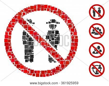 Collage No Gentlemen Icon Constructed From Square Elements In Random Sizes And Color Hues. Vector Sq