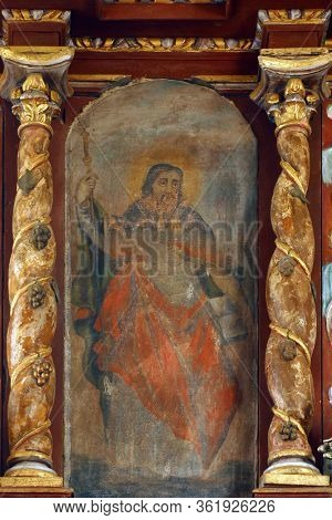 LAZ, CROATIA - JULY 14, 2014: Saint Paul altarpiece at Saint Andrew's Church in Laz, Croatia