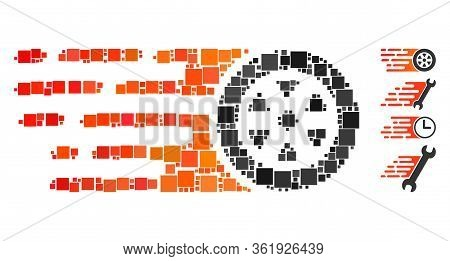 Mosaic Rush Car Wheel Icon United From Square Items In Various Sizes And Color Hues. Vector Square I