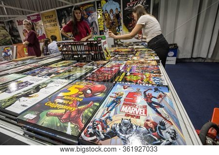 Belgrade, Serbia - October 25, 2019: Covers Of Books Of Marvel Comics In Rows On The Shelves Of A Bo