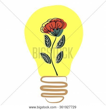 Flower In The Lamp. Graphical Flower Illustration. Flower Line Art Pattern Background Vector. Green