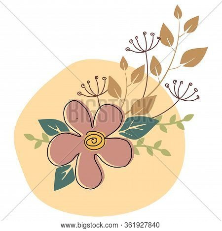 Graphical Flower Illustration. Flower Line Art Pattern Background Vector. Green Flower, White Flower