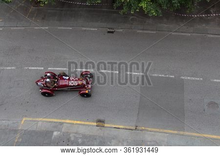 Brescia, Italy - May 16 2018: Alfa Romeo Tipo B 2900 P3 1932 Is An Old Racing Car In Rally Mille Mig