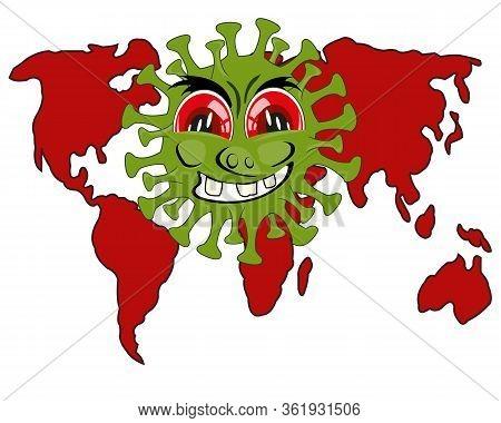 Infection Coronavirus And Card Of The World Cartoon