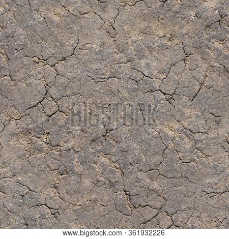 Seamless natural texture - dry cracked clay soil material