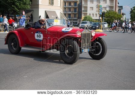 Brescia, Italy - May 19 2018: Lancia Lambda Viii Serie Casaro 1929 Is An Old Racing Car In Rally Mil