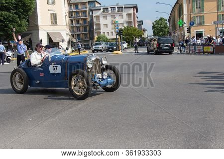 Brescia, Italy - May 19 2018: Salmson Gs 8 Gd Sport 1929 Is An Old Racing Car In Rally Mille Miglia