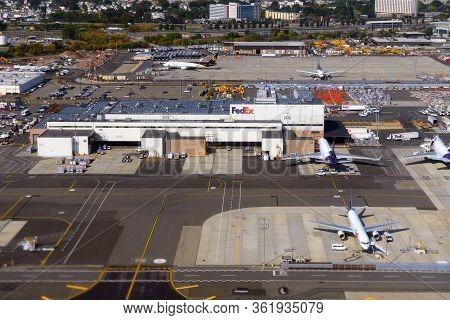Newark, Nj, Usa - Oct. 9, 2015: Aerial View Of Newark Liberty International Airport Fedex Cargo Airp