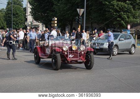Brescia, Italy - May 19 2018: Alfa Romeo 6c 1750 Gran Sport Zagato 1931 Is An Old Racing Car In Rall