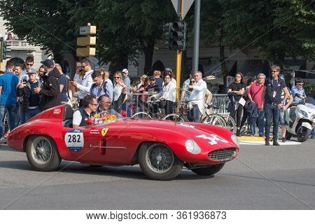 Brescia, Italy - May 19 2018: Ferrari 500 Mondial Spider Scaglietti 1954 Is An Old Racing Car In Ral