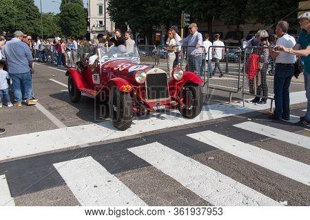 Brescia, Italy - May 19 2018: Alfa Romeo 6c 1750 Super Sport Zagato 1929 Is An Old Racing Car In Ral