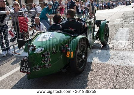 Brescia, Italy - May 19 2018: Mg C Type Supercharged 1932 Is An Old Racing Car In Rally Mille Miglia