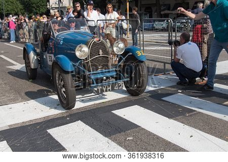 Brescia, Italy - May 19 2018: Bugatti T 40 1927 Is An Old Racing Car In Rally Mille Miglia 2018, Liv