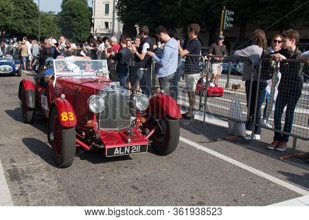 Brescia, Italy - May 19 2018: Aston Martin Le Mans 1933 Is An Old Racing Car In Rally Mille Miglia 2