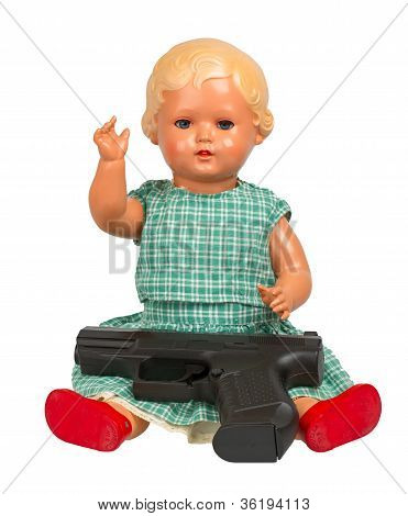 Very Old Baby Doll (1940S) With Handgun
