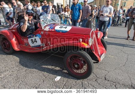 Brescia, Italy - May 19 2018: Fiat 508 S Balilla Sport Coppa Oro 1933 Is An Old Racing Car In Rally