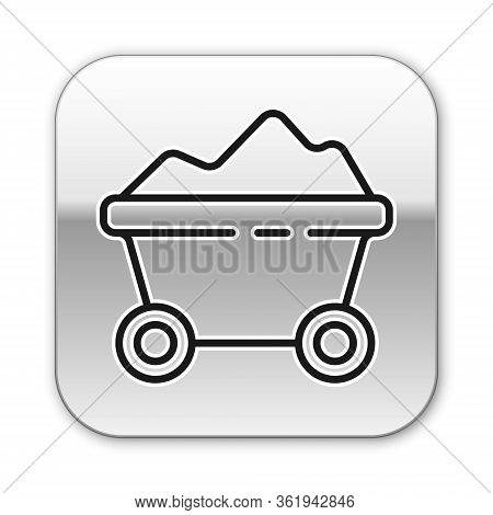 Black Line Coal Mine Trolley Icon Isolated On White Background. Factory Coal Mine Trolley. Silver Sq