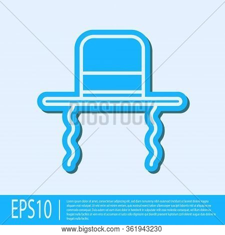 Blue Line Orthodox Jewish Hat With Sidelocks Icon Isolated On Grey Background. Jewish Men In The Tra