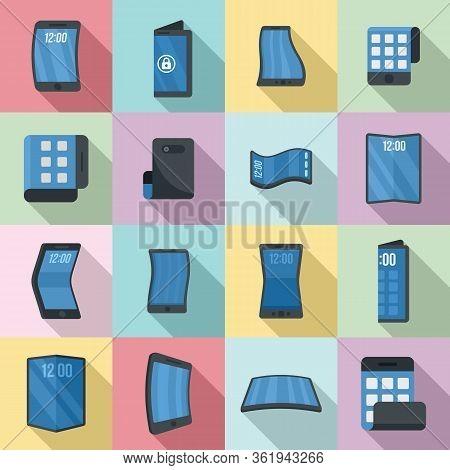 Flexible Screen Icons Set. Flat Set Of Flexible Screen Vector Icons For Web Design