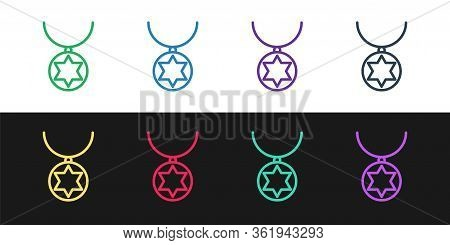 Set Line Star Of David Necklace On Chain Icon Isolated On Black And White Background. Jewish Religio